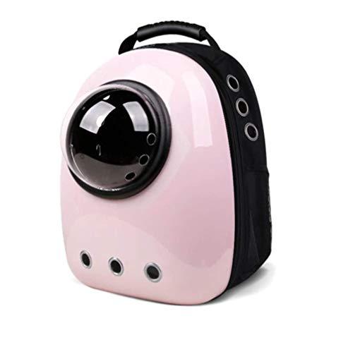 Ducomi Lightyear - Zaino Rigido con Oblò per Gatti e Cani - Massimo Confort e Stabilità Durante Passeggiate e Trasporti in Aereo - 44 x 30 x 25 cm (Pink)