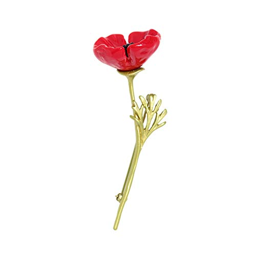 hkwshop Brooch Pin Pearl Flowers Red Poppy Brooches for Women Remembrance Days Gifts Pins Brooches