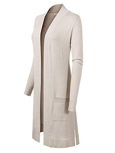 Design by Olivia Women's Solid Soft Stretch Long-Line Long Sleeve Cardigan [S-XL] Ivory S