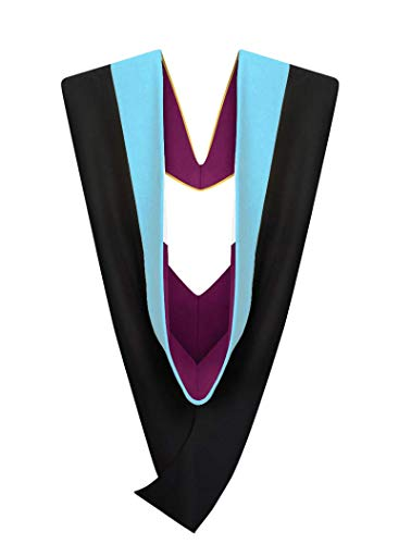 Cappe Diem Master's Graduation Hood Light Blue: Master of Education, M.Ed. (verschiedene Collegefarben) - Braun - 107 cm