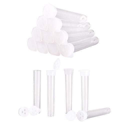 PandaHall 100 botellas de plástico para polvo con tapa de 3 agujeros, tubos transparentes para polvo de aguja de purpurina de polvo de hadas, almacenamiento de cuentas de semillas, 7,5 x 1,2 cm