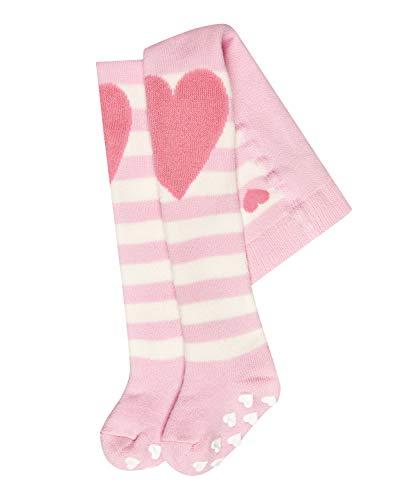 FALKE Baby Strumpfhosen Crawler Girl - 84% Baumwolle, 1 Stück, Verf. Farben: grau, rosa, Größe 62-92 - Baby-Vollplüsch-Strumpfhose mit farblich abgesetzter Herz-Patch auf den Knien