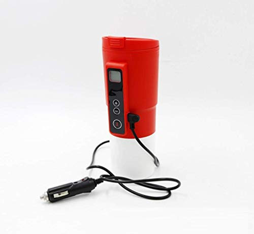 12V Auto Heizung Cup,410ml Auto Smart Travel Electric beheizter Kaffee Becher und Tea Warmer Cup mit Temp-Steuerung und Display,Red