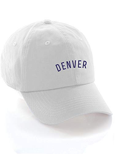 Daxton USA Cities Baseball Dad Hat Cap Cotton Unstructure Low Profile Strapback - Denver White Navy