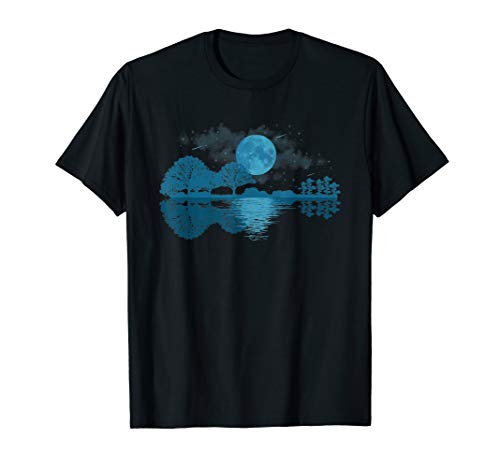 Moonlit Shadow Lake Guitar Shirt - Musician Guitarist Gift T-Shirt