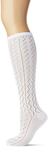 Lusana Damen Kniestrumpf mit Ajourmuster in DREI Farben Trachtenstrümpfe, Weiß (Weiß 26), 36 (Herstellergröße: 36-38)