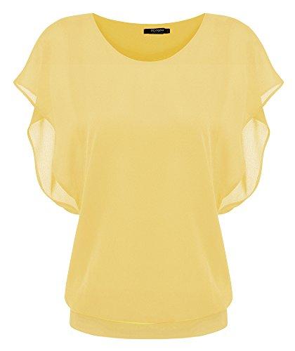 Zeagoo Damen Sommer Casual Loose Fit Kurzarm Fledermaus Batwing T-Shirt Shirt Chiffon Top Bluse, EU 38(Herstellergröße:M), Gelb