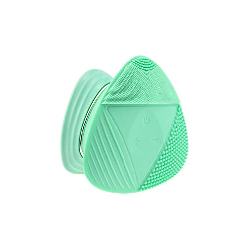 Silicone Sonic Facial Cleansing Brush,Anti Aging Beauty Face Massager for Normal, Sensitive, Combination Skin. Best Deep Cleaning Exfoliating,Green