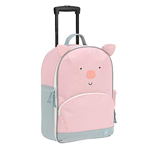 LÄSSIG Kinderkoffer Trolley Reisekoffer mit Teleskopstange und Rollen ab 3 Jahre/Trolley About Friends, Bo Pig, Schwein, 43 cm 17 L