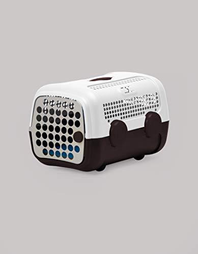 United Pets A.U.T.O. - Trasportino Rigido per Cani e Gatti, di Design, Made in Italy, Bianco/Marrone, Incluso Tappetino Igienico, 51x37x33cm, Trasportino da Viaggio