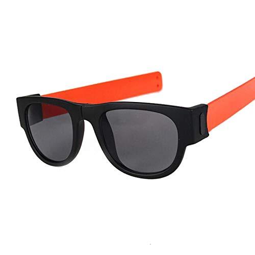NJJX Gafas De Sol De Muñeca Plegables Para Mujer, Pulsera Con Bofetadas, Gafas De Sol, Pulsera Enrollada Para Hombre Y Mujer, Vintage, Cuadrado, Negro, Naranja