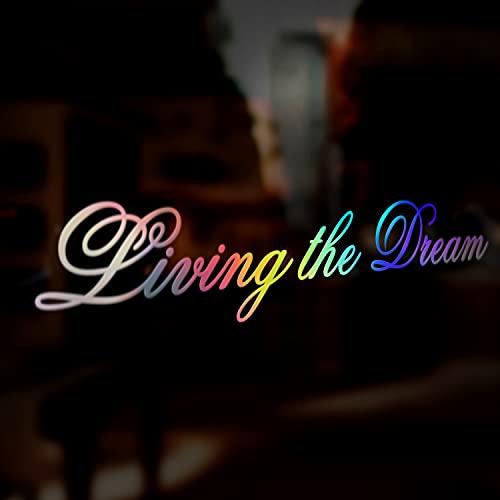Living The Dream JDM Sticker Decal, Oil Slick Chrome Holographic Iridescent...