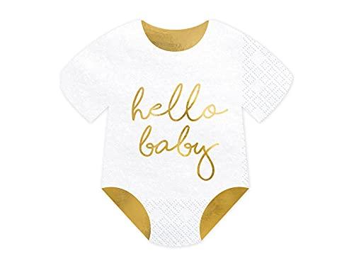 PartyDeco Servietten Sleepy Baby - Hello Baby weiß 16x16cm 20 Stk. Babyparty Geburtstag