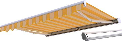 Broxsun Kassettenmarkise Dallas, 2,0 bis 6m, 120 Stoffe Farben, Auslage bis 3,6m, Markise, Breite von 200 bis 290cm, Länge 160cm, Kurbelantrieb manuell