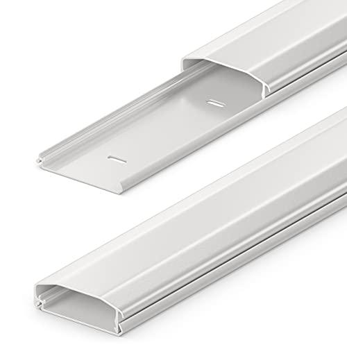deleyCON Canaleta Universal para Colocar Cables y Líneas PVC de Primera Longitud de 100cm Ancho de 6cm Altura de 2cm - Blanco
