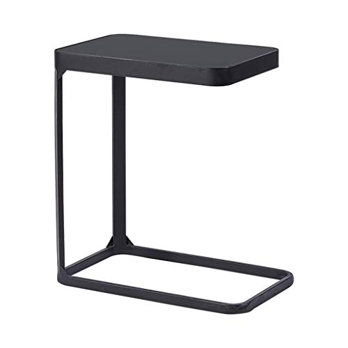 Mesa Lateral Simple en Forma de C, Negro de Vidrio Templado sobre la Mesa, Marco de Metal, fácil de Limpiar y Mango, Diseñado for hogar Moderno, Negro Oro Opcional /