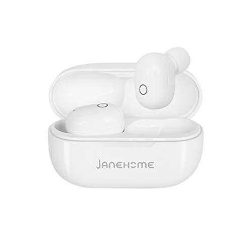 Wireless Earbuds JANEHOME TWS Bluetooth 5.0 Earphones with Mic & Truly Wireless Stereo-IPX5 Sweat & Water Resistant in-Ear Headphones-Ergonomic Fit-Rechargeable Carry Case-Bluetooth Earbuds White