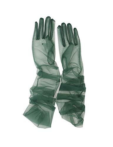 YCShun Women's Tulle long Wedding Bridal Gloves Long Opera Party Gloves 27' Elbow Length Sheer Gloves Dark Green