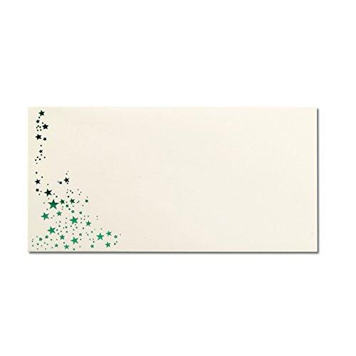 50x Weihnachts-Briefumschläge - DIN Lang - mit Grün-Metallic geprägtem Sternenregen - Farbe: Creme, Nassklebung, 80 g/m² - 110 x 220 mm - Marke: Gustav NEUSER®