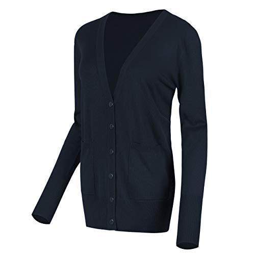 Urban GoCo Damen Strickjacke Cardigan mit V-Ausschnitt (M, Navy blau)