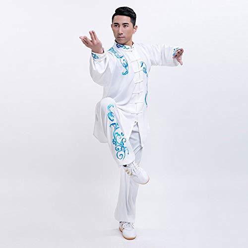 Unisexo Ropa De Tai Chi,Disfraz Chino Shaolin Wing Chun Qi Gong Algodón Zen Traje De Meditación Bordado Taekwondo Transpirable Uniformes,White(b)-S