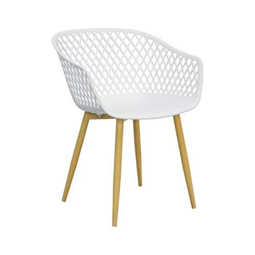 ZONS - Juego de 2 bandejas para sillas de diseño, color blanco y patas de metal, imitación de madera, talla XL