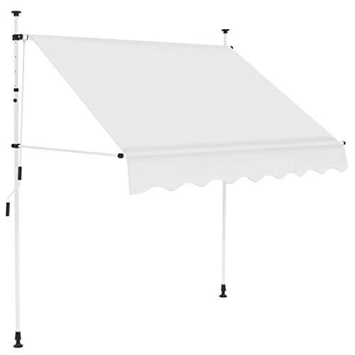 Festnight- Einziehbare Markise | Handbetrieben Klemmmarkise | Balkonmarkise | Sonnenschutz Spannmarkise | Terrasse Markise | Anthrazit/Cremeweiß 150/200/250/300/350/400 cm