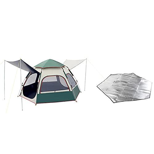 Tienda, Carpa Para Acampar 3~4 Personas Automático Equipo Ultraligero Engrosado Al Aire Libre A Prueba De Lluvia Y Protector Solar Carpa, Para Caminatas Familiares,Verde,B