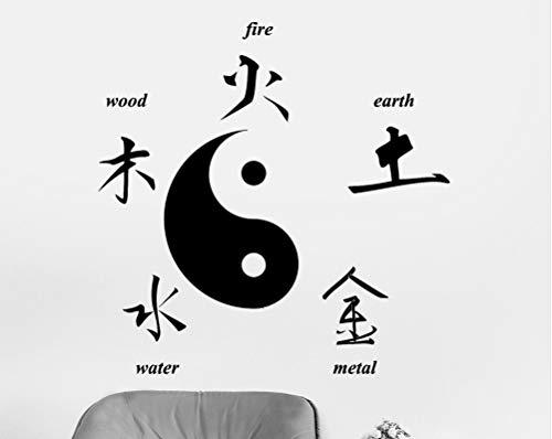 Ponana Chinesische Taoistische Kultur Wandaufkleber Ausgangsdekor Buddha Chinesische Zeichen Der Elemente Yin Yang Symbol Aufkleber Wohnzimmer Schlafzimmer Mode Dekoration 56X56 Cm