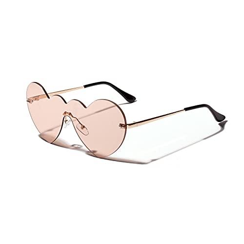 JINZUN Gafas de Sol con Forma de corazón de melocotón Gafas de Sol de Amor con Montura Grande de una Pieza Moda en Forma de corazón Espejo de Fiesta Protección UV Rosa Claro