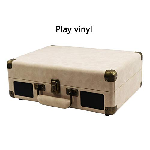 Man-hj 33/45/78 RPM Vintage Brown Wireless Bluetooth Ortable Suitcase Turntable Vinyl Record Phone Player Aux-in Line-out 100-240V Hot (Color : Style 1)
