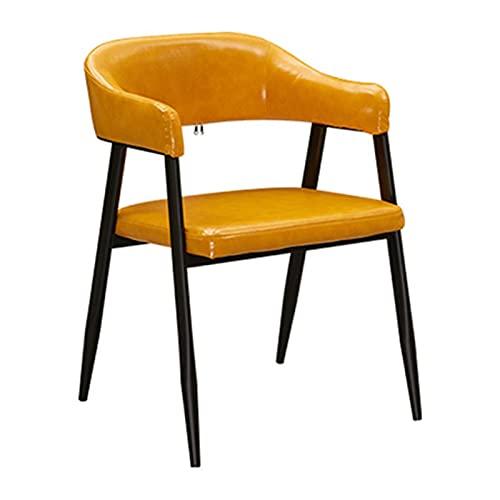 WYGK PU-Leder Esszimmerstuhl,Westliches Restaurant Milchtee Dessertladen Rückenlehnenverhandlung Bürostuhl Schmiedeeisen Lounge-Sessel (Color : Yellow)