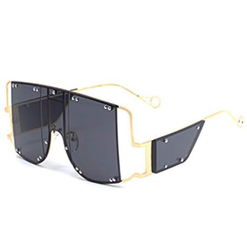 HBODHBGS Übergroße quadratische Rihanna Sonnenbrille Frauen Alu Rahmen Schatten für Frau Trending Damen Brille UV400 Gold Black
