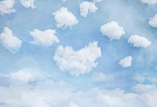 Fondo de fotografía Cielo Azul Nubes Blancas Recién Nacido Retrato Niños Fiesta de cumpleaños Foto de teléfono Estudio fotográfico A4 7x5ft / 2.1x1.5m