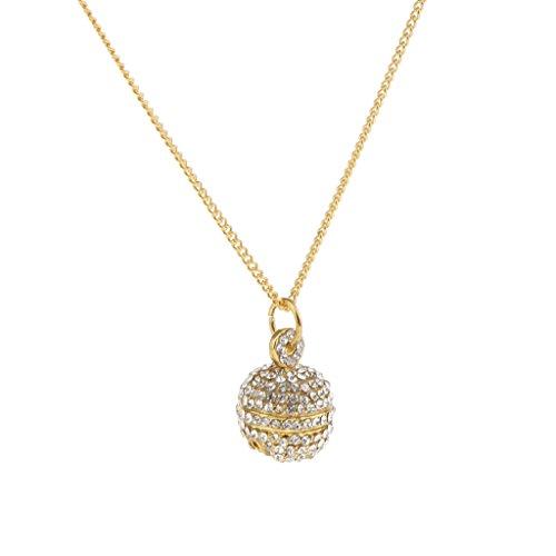 Colcolo Hip Hop Rock Hombres Mujeres Rhinestone Bell Forma Bola Colgante Collar Disco Joyería - Bola de Oro, 1.6cm