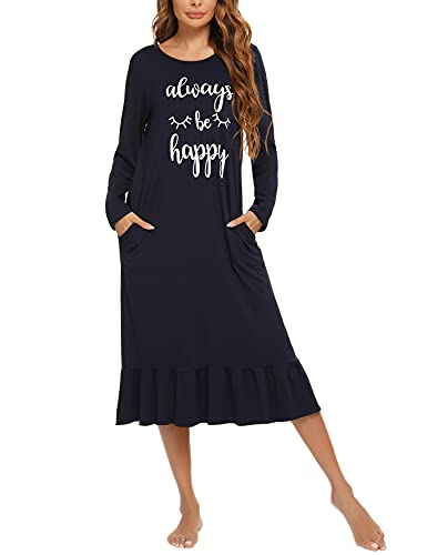 Enjyam Camisón Mujer Algodón Camisones Manga Larga Ropa de Dormir Interior Vestidos Pijama Comodo Suave Transpirable Casual Otoño Primavera Invierno