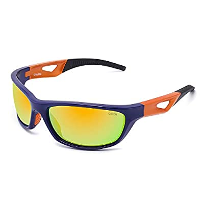 OSLOB Polarized Sports Sunglasses for Women Men Cycling Running Driving UV Protection Glasses ST003 (Blue Frame Orange Temple Black Tips/Blue Revo Lens)