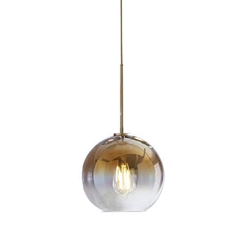 Wings of wind - Abat-Jour en Verre doré de Couleur dégradée, luminaire Suspendu à vis E27 avec Support pour vis en Verre (Φ25cm)