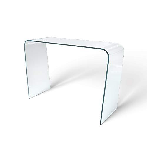Arreditaly Consolle Salotto Soggiorno Sala da Pranzo Ingresso Tavolo in Vetro Temperato Design Moderno Elegante Curvo - Luxury Z-15 Dimensioni 110 x 80 x 40 cm