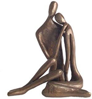 Danya B. ZD6786S Contemporary Sand-Casted Bronze Sculpture - A Couple's Tender Embrace - Small