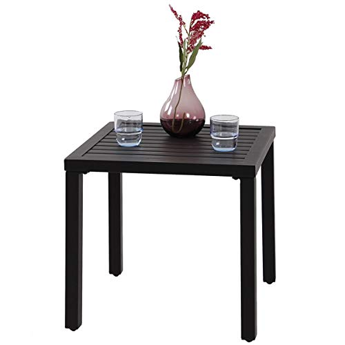 Pollyhb Small Metal Square Side End Table, Black, Patio Wrought Iron Coffee Bistro Table, Indoor Room Kitchen Counter Height Dining Table, 19x19x18 inches