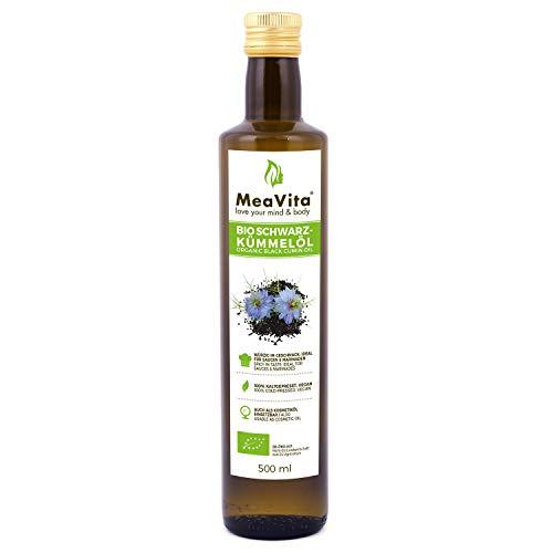 MeaVita Bio Schwarzkümmelöl, kaltgepresst, (1 x 500ml) gefiltert und schonend gepresst reich an ungesättigten Fettsäuren
