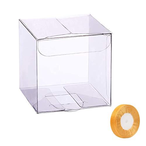 LAITER 20 PCS Scatole Trasparenti Bomboniere PVC 7x7x7 cm Quadrato per Decorazione Matrimonio Compleanno Festa Caramelle Biscotti Regalo Confezione con 1 Nastro Oro