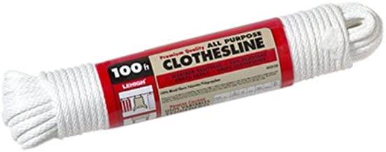 Weather Resistant Shrink Wrapped Hank Solid Braid Synthetic Clothesline - 1//4 Inch x 100 Feet - Crescent Braided Polyester Knots Easily