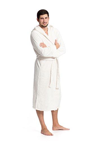 ZOLLNER Bademantel für Damen und Herren, Größe M, Mikrofaser, wollweiß