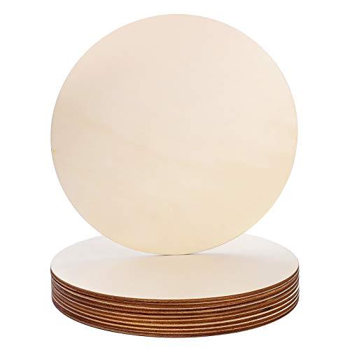 Círculo de madera,10 piezas 20CM Discos de Madera Sin Acabado,Círculos Lisos Natural para sus Decoraciones,recortes de madera para manualidades,rodajas de madera redondas para pirograbado,pintura y