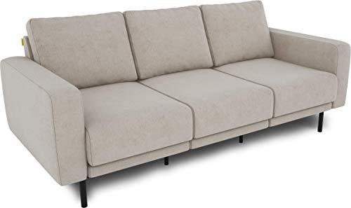 KAUTSCH Mette Dreisitzer Sofa für Wohnzimmer zerlegbar - Couch 3-sitzer - Polstersofa - B 208 cm - ohne Longchair, créme-beige - mit Metallfüße