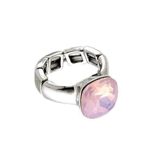 Sweet Deluxe Stretchring Diva, Silber/Rose Opal I Damen-Ring I Mode-Schmuck Ring für Frauen I Ringe Rings für Mädchen I modisches Design-Accessoires