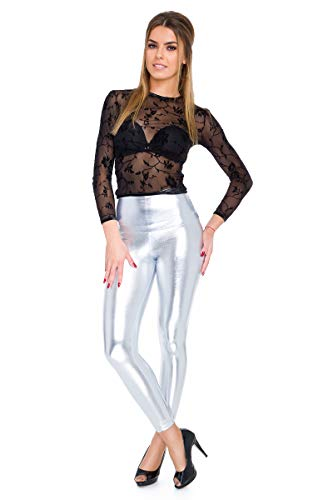FUTURO FASHION - Knöchellange Leggings mit hohem Bund - sexy Latex-Lederimitat - matt & glänzender Wet-Look - Silberfarben - 44