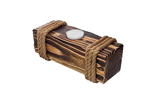 Portavelas de madera con 8 piezas Tealights – Portavelas de madera de pino – tronco de árbol decoración de mesa exterior interior – decoración del hogar moderno toco de árbol